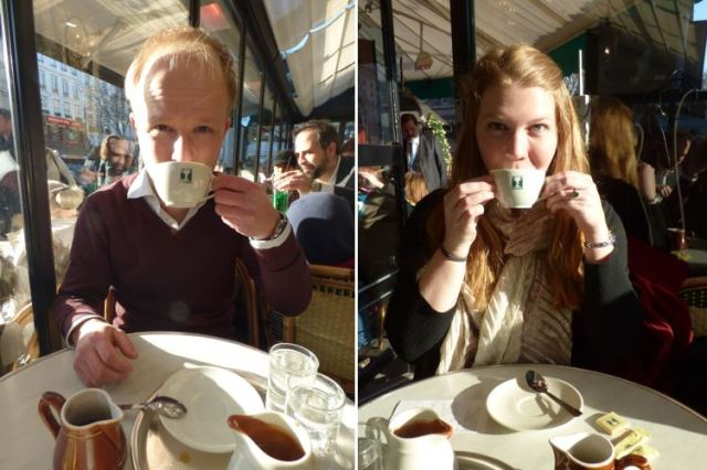 Sarah and I trying our drinks at Les Deux Magots