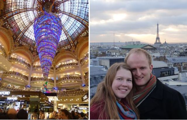 Left: Main hall of Galeries Lafayette. Right: Sarah and I on the top of Galeries Lafayette