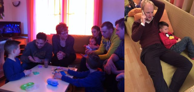 Left: The whole family amazed by kinetic sand. Right: One of my little cousins and I, watching Home Alone on TV