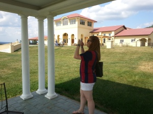 Sarah taking a picture of the Breaux estate