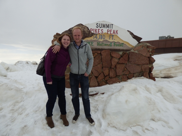 Sarah and I at the summit of Pikes Peak