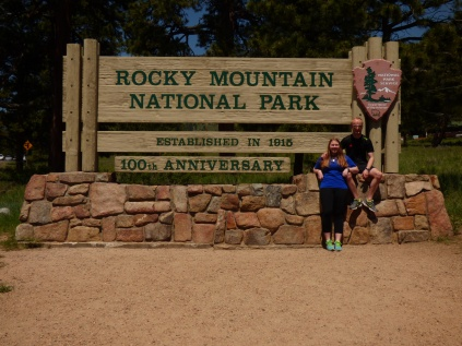 Sarah and I at the entrance of Rocky Mountains National Park